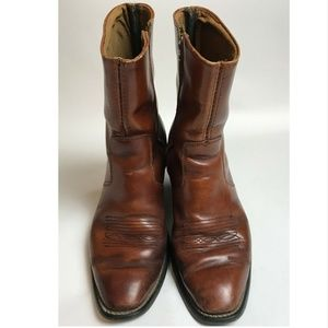 Vtg 60s/70s Men's Brown Leather Western Ankle Boot